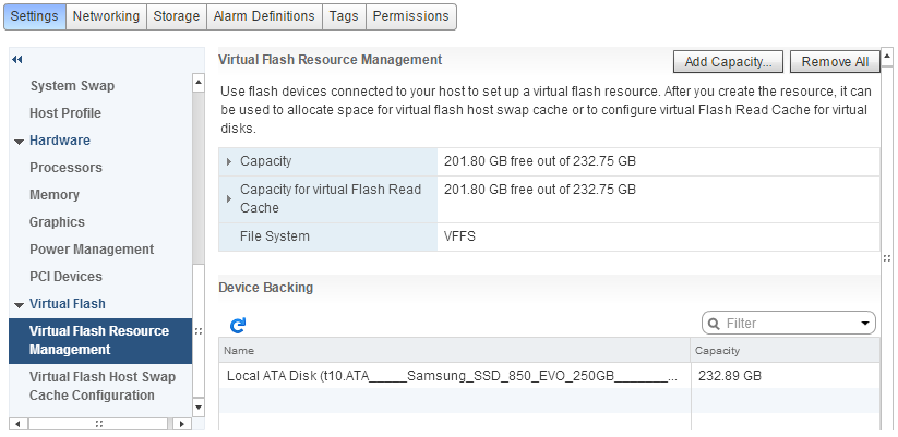Virtaul Flash Read Cache Host Setting