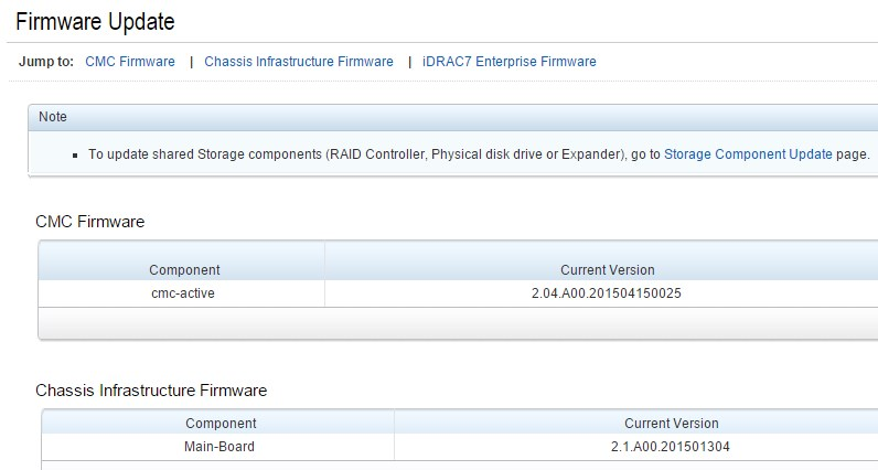 CMC and Infrastructure Firmware Current