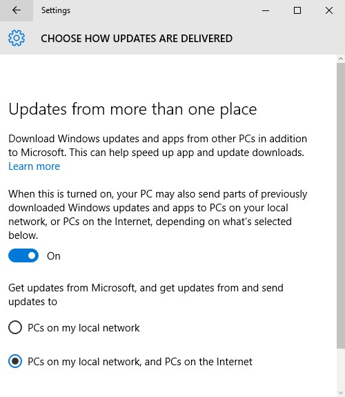 Windows 10 Peer to Peer Updates