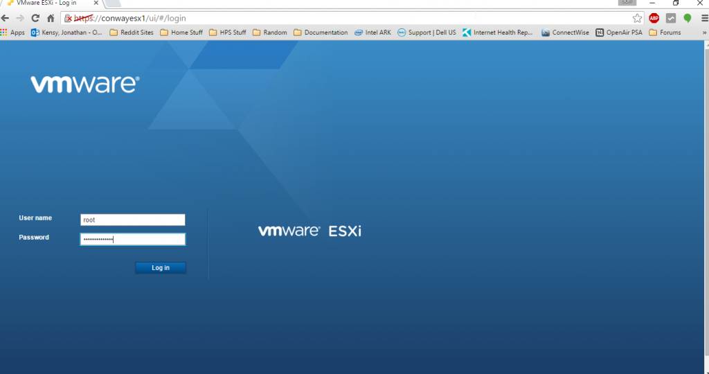 ESXI Embedded Host Client UI