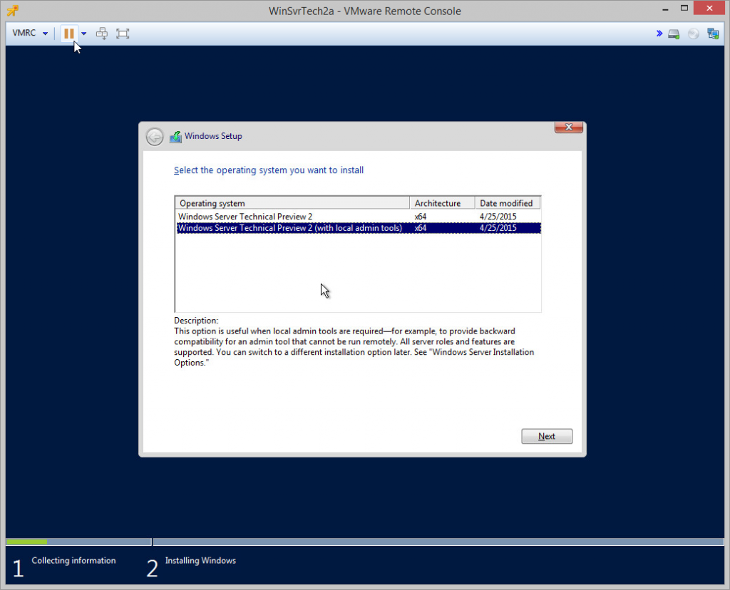 Windows Server Tech Preview 2 Install