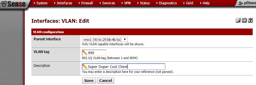 Create VLAN within pfSense