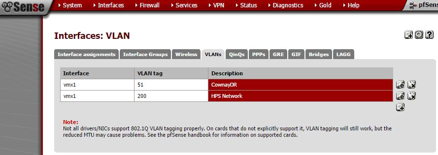 pfSense Interface VLANs