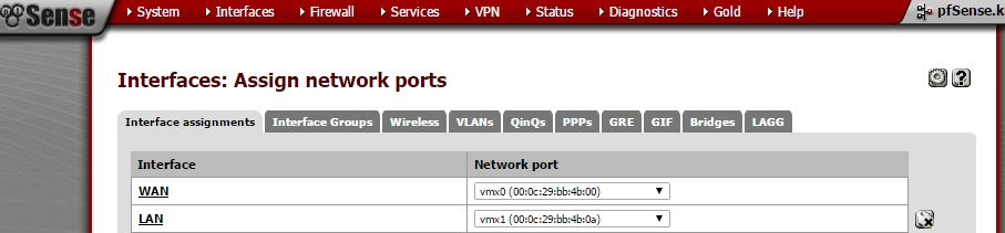 pfSense interfaces