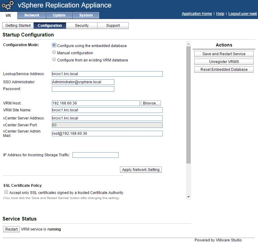 vSphere Replication Appliance Register