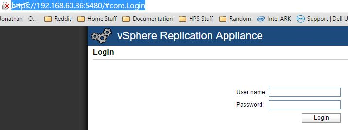 vSphere Replication Login