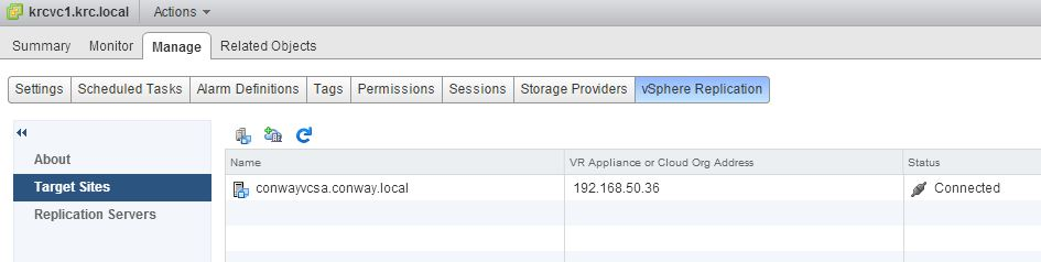 vSphere Replication Manage 1