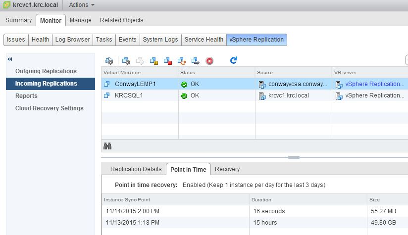 vSphere Replication Point in Time Shots