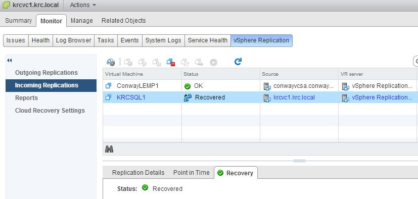vSphere Replication Recovered