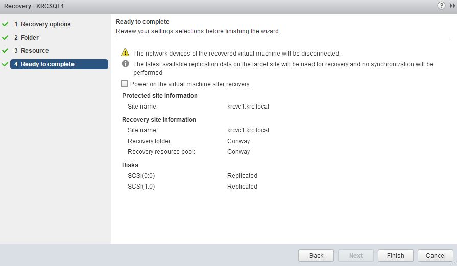 vSphere Replication Recovery 5